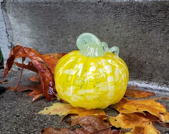 """Yellow with White Spots Glass Pumpkin, 4"""" Decorative Squash Shaped Fall Sculpture with Curly Pale Green Stem, By Avalon Glassworks"""