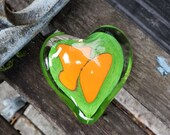 "Orange & Green Abstract Glass Heart, Solid Heart-Shaped 3.5"" Paperweight Sculpture, Valentine, Wedding, Anniversary Gift, Avalon Glassworks"
