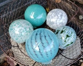 "Blown Glass Balls, Set of Five 3.5"" to 4"" White & Turquoise, Pond Floats w/ Hint of Green, Sturdy Decorative Glass Orbs by Avalon Glassworks"