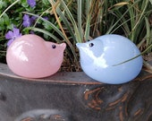 "Pink and Blue Chicks, Set of Two 3"" Blown Glass Bird Sculptures, for Easter, Mantel or Tabletop, By Avalon Glassworks"