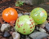 "Orange and Green Blown Glass Floats, Set of Three 3.5"" Glass Decorative Balls for Home and Garden by Avalon Glassworks"