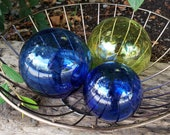 "Blue & Green Transparent Glass Floats, Set of Three, 3.5"" - 4.5"" Blown Glass Balls, Decorative for Outdoors or Indoors, By Avalon Glassworks"