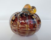 "Ruby Red Pumpkin with Beige Spots, Blown Glass 5"" Pumpkin with Gold Accent on Ribs and Twisty Stem, By Avalon Glassworks"