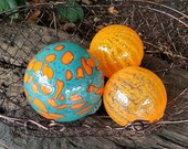 """Turquoise & Orange Spotted Floats, Set of Three, 2.5"""" to 3.5"""" Blown Glass Spheres, Decorative Balls, Garden Balls, By Avalon Glassworks"""