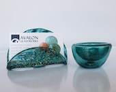 Teal Business Card Holder and Mini Dish Set, Hand Blown Glass Desk Accessories, Office Display, Executive Gift, By Avalon Glassworks