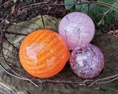 "Orange and Pink Glass Floats, Set of Three, 2.5"" to 3.5"" Blown Glass Spheres, Decorative for Outdoors or Indoors, By Avalon Glassworks"