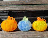 "Glass Pumpkin Trio, Orange, Yellow & Blue, Set of Three 5"" Blown Pumpkins with Spots, Curly Stems, Autumn Decor by Avalon Glassworks"