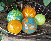 "Pops of Color, Set of Five 2.5""-4"" Blown Glass Decorative Floats in Orange, Blue, Green, and Yellow, By Avalon Glassworks"