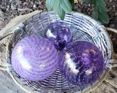 "Purple Glass Floats, Set of Three, 2.5"" to 4"" Blown Glass Spheres, Decorative for Outdoors or Indoors, By Avalon Glassworks"