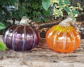 "Glass Pumpkins, Orange and Purple, Set of Two 5"" Blown Pumpkins with Metallic Curly Stems and Ribs, Autumn Decor by Avalon Glassworks"