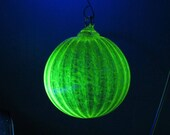 Uranium Glass Ornament, Glows in Black Light, Round Christmas Tree Ball, Vaseline Glass, Bright Yellow or Green, Hook, Avalon Glassworks