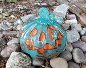 "Aqua Blown Glass 4.5"" Pumpkin, with Orange Spots and Curly Aqua Ribbed Stem, Decorative Sculpture By Avalon Glassworks"