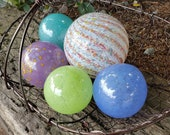 "Spring Colors Glass Balls, Set of Five, 2.5"" to 3.5"" Blown Glass Spheres, Decorative Floats for Outdoors or Indoors, By Avalon Glassworks"