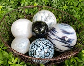 "Black and White Floats, Set of Six 2.5""-4.5"" Decorative Hand Blown Glass Balls, Home and Garden Décor, Pond Floats, By Avalon Glassworks"