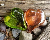 "Lime Green & Peach Glass Hearts, Solid Heart-Shaped 3"" Paperweight Sculptures, Chartreuse and Salmon Pink Friendship Gift, Avalon Glassworks"