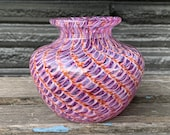 "Purple and Pink Feather Vase, 4"" Modern Design Blown Glass Bud Vase, Hint of Orange, Unique Scale Pattern, Flared Lip, By Avalon Glassworks"