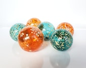 "Orange And Teal Floats, Set of Six, 2.5"" - 2.75"" Blown Glass Floats, Sturdy Decorative Glass Balls for Indoors or Out, by Avalon Glassworks"