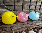"Glass Chicks, Set of Three 3"" Blown Bird Sculptures in Yellow, Blue, and Pink for Spring, Easter, Table Décor, By Avalon Glassworks"