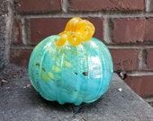 "Turquoise and Green Swirled Blown Glass Pumpkin, 5.5"" Decorative Sculpture in Marbleized Swirl Design, Curly Ribbed Stem, Avalon Glassworks"