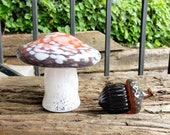 Blown Glass Amanita Mushroom and Acorn Set, Red, Dark Gray, White Spots with White Stem and Solid Acorn Sculpture, by Avalon Glassworks