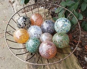 """Speckled Glass Balls, Set of 10 Pond Floats, 2.5"""" Spotted Spheres, Blown Glass Decorative Balls, Garden Orbs By Avalon Glassworks"""