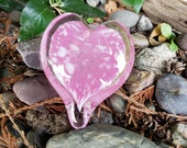 "Pink and White Heart, Solid Heart-Shape 3"" Paperweight Sculpture, Appreciation, Valentine's Day Gift, By Avalon Glassworks"