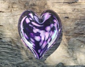 "Purple on Purple Glass Heart, Solid Heart-Shaped 3.5"" Paperweight Sculpture, Appreciation Gift, By Avalon Glassworks"
