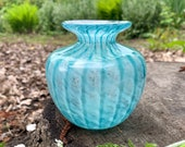 "Turquoise and Aqua Blue Bud Vase, 4"" Blown Glass Small Flower Vase, Transparent Blue & White Stripe Pattern, Office Decor, Avalon Glassworks"
