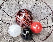 "Red, Black, and White Glass Floats, Set of Four 2.75""-4"" Sturdy Decorative Blown Glass Garden Balls, Pond Floats, by Avalon Glassworks"