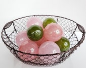 "Pinks and Green, Set of twelve 2.75"" Decorative Glass Balls, Home Decor, Garden Floats, Outdoor Art, Hand Blown By Avalon Glassworks"