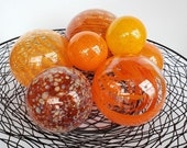 "Extra Large Orange, Set of Seven, 2.5"" - 5.5"" Glass Garden Balls in Light & Dark Orange, Decorative Floating Spheres, Avalon Glassworks"