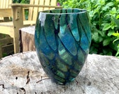 "Butterfly Wing Vase, Deep Blue with Olive Green and Amber Scale Pattern, 7.25"" Tall, Blown Glass Studio Art Vase, By Avalon Glassworks"