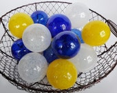 Blue, Yellow and White, Set of 15 Blown Glass Balls, Small Decorative Floats, Outdoor or Indoor Art Spheres Basket Filler, Avalon Glassworks