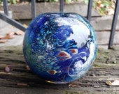 "Luna Vase, Earth Inspired Sphere Vase, 4.5"" Blown Glass Art Vase, Globe Vase Featuring Swirling Clouds, By Avalon Glassworks"