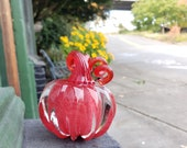 "Little Glass Pumpkin, Solid Red Paperweight, 3"" Decorative Squash Sculpture in Blood Red & Clear Glass, Halloween Decor,By Avalon Glassworks"