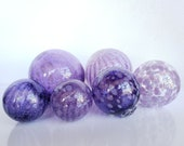 "It's a Purple Thing, Set of Six Floats, 2.5"" to 4.5"" Blown Glass Balls in Transparent and Opaque Shades of Purple, By Avalon Glassworks"