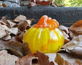 "Yellow with Orange Spot Glass Pumpkin, 4"" Tall Decorative Squash Shaped Sculpture with Curly Orange Stem, By Avalon Glassworks"