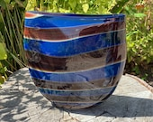 "Jupiter Purse, Deep Blue with Warm Brown and Red Wraps, 8"" Tall, Purse-Shaped Blown Glass Art Vase, Wood Tones, By Avalon Glassworks"