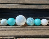 "Turquoise and White Glass Balls, Set of Six 2.5""-4"" Decorative Blown Glass Floats, Outdoor Garden Art, Pond Spheres, by Avalon Glassworks"