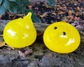 "Glass Chicks, Set of Two 3"" Blown Bird Sculptures in Yellow, Easter, Table Décor, By Avalon Glassworks"