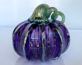 "Purple Glass Pumpkin, 4"" Decorative Sculpture with Ice Blue Metallic Ribs and Coiled Stem, Summer, Autumn Decor, Blown By Avalon Glassworks"
