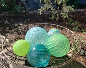 "Green and Aqua Glass Floats, Set of Five 2.5 to 4"" Blown Glass Floats, Sturdy Decorative Glass Garden Balls by Avalon Glasswork"