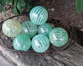 "Jadeite, Green Pattern Glass Balls, Set of 7, Blown Glass 2.5""-3"" Decorative Spheres, Pond Floats, By Avalon Glassworks"