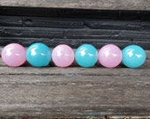 Pink and Blue Glass Balls, Set of Six Small Decorative Spheres, Garden Floats, Baby Shower Décor, Hand Blown Outdoor Art, Avalon Glassworks