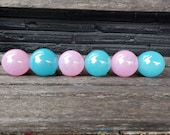 "Cotton Candy, Set of Six 2.5"" 2.75"" Glass Balls in Pink and Blue, Garden Floats, Home or Outdoor Décor, Hand Blown By Avalon Glassworks"