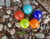 "Bright and Bold Colorful Set of Five 2.5"" Floats, Garden Balls, Nautical Home or Garden Décor, Hand Blown By Avalon Glassworks"