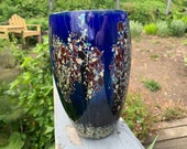 "Arboretum Vase, 8.5"" Tall Blown Glass Vase, Modern Design Studio Art Glass in Dark Blue, Falling Leaf Pattern, Blown By Avalon Glassworks"