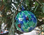 "Mosaic Glass Christmas Ornament, Blue, Green, White and Red 2.75"" Blown Glass Ornament By Avalon Glassworks"
