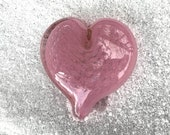"Pink Heart, Bubble Pattern, Solid Heart-Shape 3"" Paperweight Sculpture, Appreciation, Valentine's Day Gift, By Avalon Glassworks"