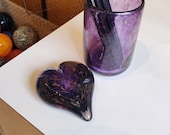 Purple & Gold Glass Desk Accessory Set with Heart Paperweight and Pen Cup in Transparent Purple with Gold Flecks, By Avalon Glassworks